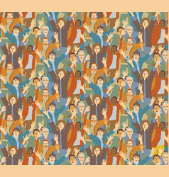 big crowd happy people seamless pattern vector image