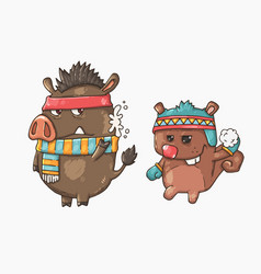 boar and squirrel playing snowballs vector image vector image