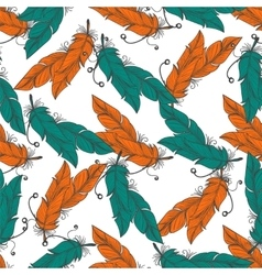 Boho seamless pattern with feathers vector