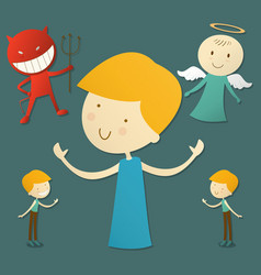 boy with red devil and cute angel vector image