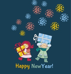 Boys and girls are holding gifts or present vector image vector image