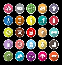 Camping necessary flat icons with long shadow vector