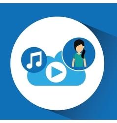 Cartoon girl green shirt music cloud app vector