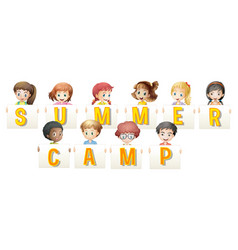 children holding words for summer camp vector image vector image