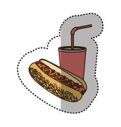 Color hot dog and soda icon vector