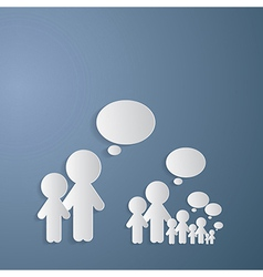 Cut Paper People With Empty Speech Bubble on Blue vector image
