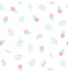 Cute tiny flowers and berries Seamless pattern vector image vector image