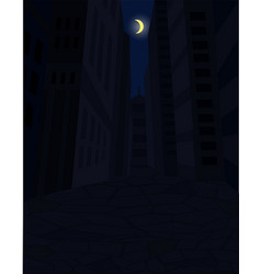 dark street of city and the moon in the sky vector image