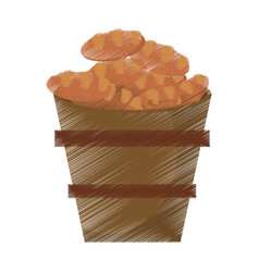 Drawing wooden pot bread full miracle vector