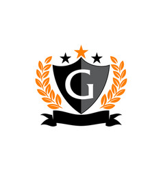 Emblem star ribbon shield initial g vector