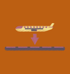 flat icon in shading style airplane lands airport vector image