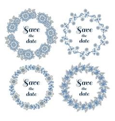 Floral Wreaths Set Blue Gray vector image