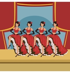 Four dancers doing cancan on theatre stage vector