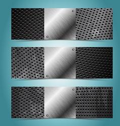 Grunge metal banner design template vector image vector image