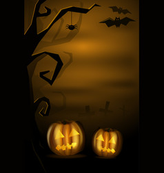 halloween landscape with pumkins and cemetery vector image vector image