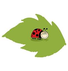Happy Ladybug On A Leaf vector image