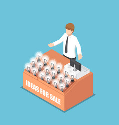 isometric businessman selling his idea vector image vector image