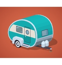 Low poly turquoise retro motor home vector image vector image