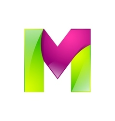 M letter green and pink logo design template vector image vector image