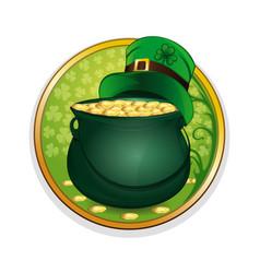 magic pot of gold and leprechaun hat vector image vector image
