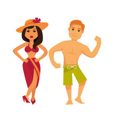 man and woman in swimsuits isolated on white vector image vector image