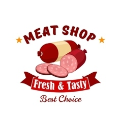 Meat and butcher shop emblem label vector