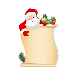 merry santa claus standing with christmas vector image
