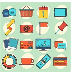 Modern flat icons collection web design objects vector image vector image