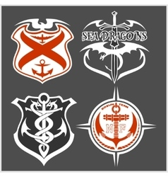 Navy military patch set vector image vector image