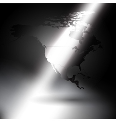 North america map in the rays of light background vector