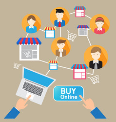 online website shopping deliver social customer vector image