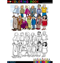 People in Queue for coloring vector image