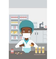 Pharmacist preparing medication vector