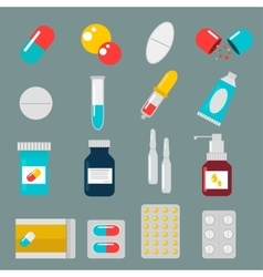 Pills capsules icons flat set medical vector