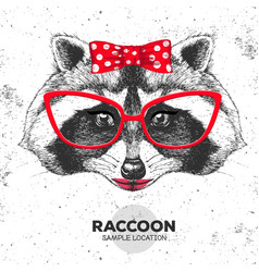 retro hipster animal raccoon hand drawing muzzle vector image vector image