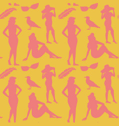 retro woman in swimsuit seamless pattern vector image vector image