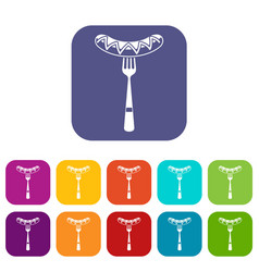 Sausage on a fork icons set vector