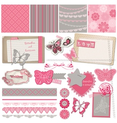 Scrapbook design elements - vintage lace butterfli vector