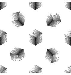 Seamless abstract pattern with dotted cubes vector