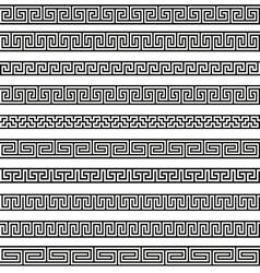 Set different borders greek ornament patterns vector image