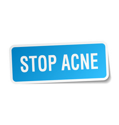 Stop acne square sticker on white vector
