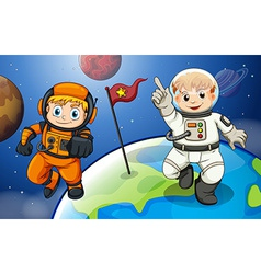 Two male astronauts in the outerspace vector