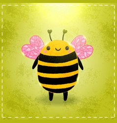 Valentines day greeting card with bee vector
