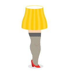 Vintage floor lamp womens leg and lampshade retro vector