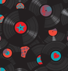 Vinyl records pattern vector image vector image