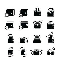 Wallet set and bubble talk and arrow icons vector