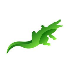 wild crocodile animal jungle pet logo silhouette vector image