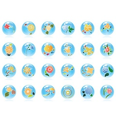 Glossy buttons with floral vector