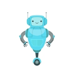 Blue friendly android robot character with two vector