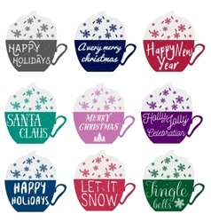 set of color cups with winter holidays vector image